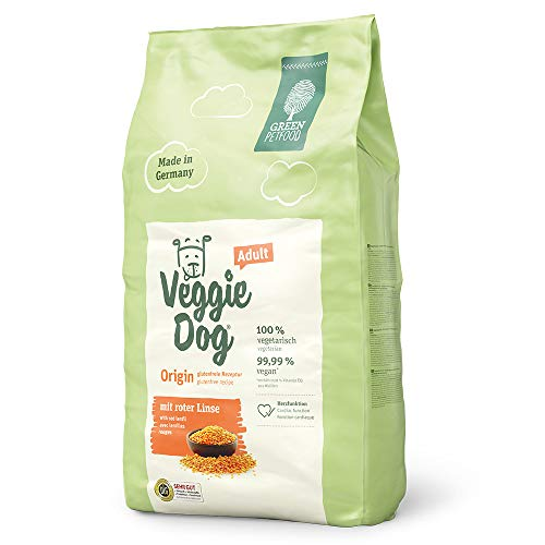 Green Petfood VeggieDog Origin Adult (1 x 10 kg) | vegetarisches und glutenfreies Hundefutter mit roter Linse | nachhaltiges Trockenfutter für ausgewachsene Hunde | 1er Pack