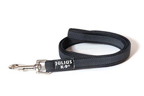 Julius-K9, 216GM-S1 Color & Gray Gumierte Leine Schwarz-Grau 20mm*1 m mit Schlaufe, max. für 50 kg Hunde
