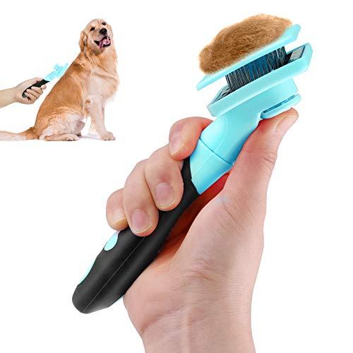 Makerfire Hundebürste Katzenbürste Selbstreinigende Softbürste Zupfbürste mit Weichen Bürsten für Hunde Katze Kurz bis Langhaar geeignet -Blau