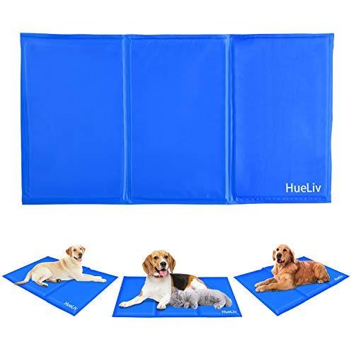 HueLiv Kühlmatte für Hunde, Groß Haustier kühlmatte Kühlpad für Hunde und Katzen, Ungiftiges Aktiviertes Gel Kühlmatte Pet Mat Ideal Damit Hundekatze im Heißen Sommer kühl Bleibt, Blau(90 * 50 cm)