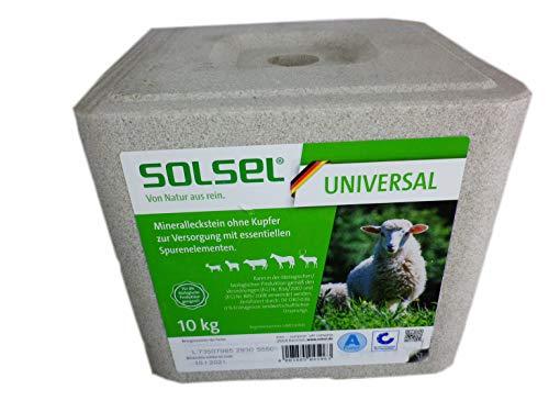 Solsel Mineralleckstein Universal ohne Kupfer 10 kg für Schafe Rinder Pferde Wild (1x 10 kg GP 1,20€/kg)