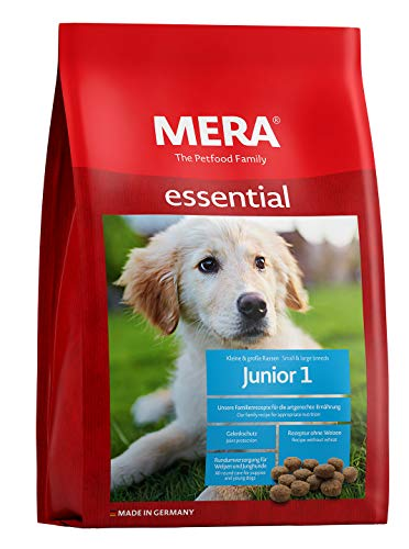 MERA essential Hundefutter  Junior 1  Für Welpen & Junghunde - Trockenfutter mit Geflügel - Ohne Weizen & Zucker - Welpenfutter für alle Rassen (12,5 kg)