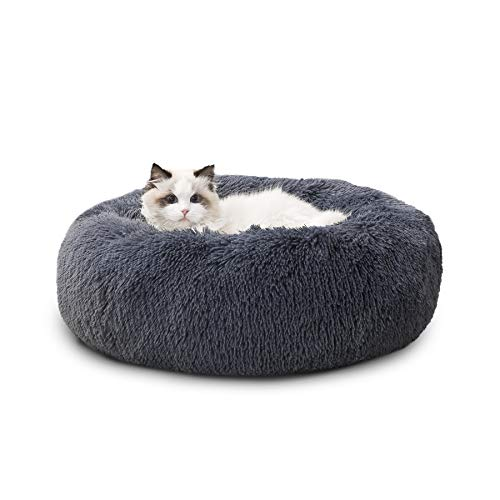 BEDSURE Katzenbett waschbar Flauschiges Hundebett - Katzenschlafplatz für Katzen und kleine Hunde, plüsch Katzen Kissen rund Kuschelbett Größe in 50x50 cm, dunkelgrau
