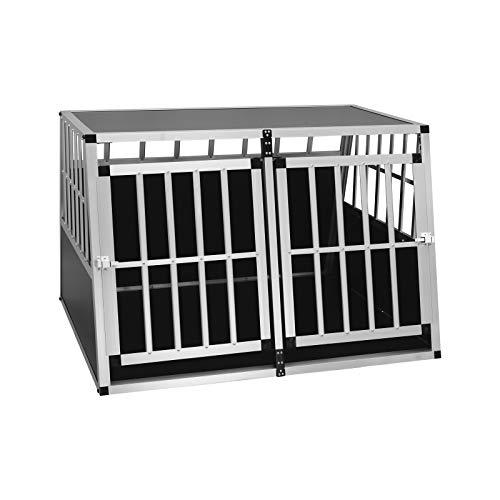 EUGAD Hundetransportbox Alu Doppel Hundebox Reisebox für große Hunde Husky Samojede Weimaraner Labrador Deutscher Schäferhund Boxer 104 x 91 x 69 cm XXXL 0004LL