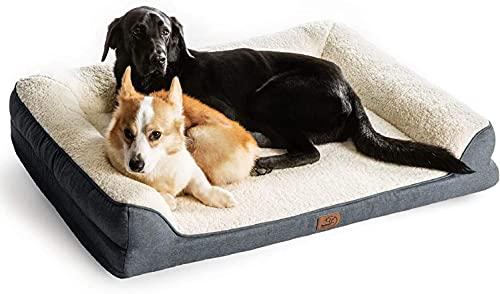 Bedsure orthopädische Hundebett große Hunde - Hundesofa mit Memory Foam, kuschelig Schlafplatz in Größe 106x81 cm, waschbare Hundesofa, grau und beige