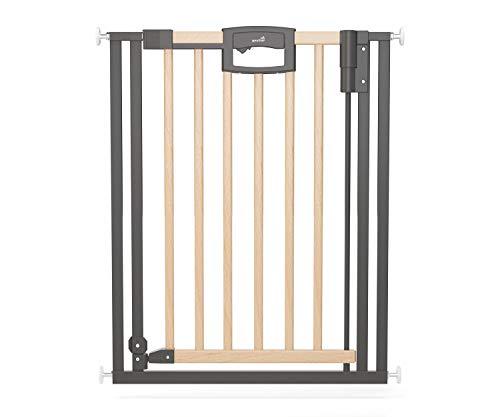 Geuther, Tür und Treppenschutzgitter ohne Bohren Wood 2792+ für Kinder und Hunde zum klemmen MetallHolz naturschwarz, Easylock Wood+ natur/silber, 80.5 - 88.5 cm