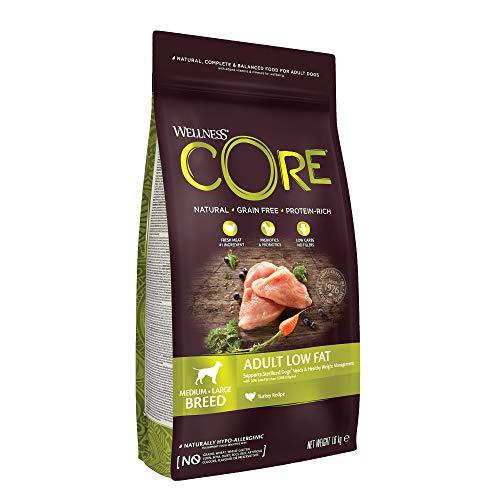 Wellness CORE Adult Low Fat, Hundefutter trocken für sterilisierte / übergewichtige Hunde, getreidefrei, mit hohem Fleischanteil, Pute, 1,8 kg