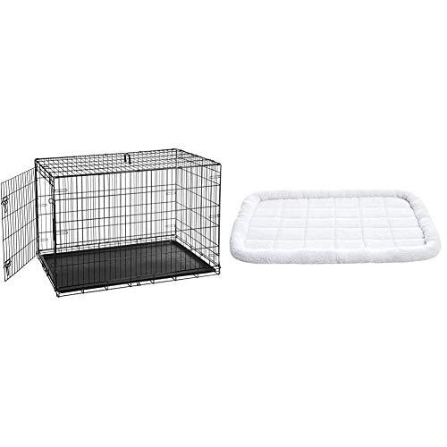 Amazon Basics Hundekäfig mit 2 Türen, Metall, zusammenklappbar & Gepolstertes Haustierbett mit Rand - 1,16 m x 71 cm