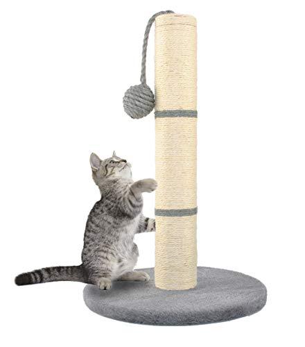 MALATEC Kratzbaum ökologisch Kratzsäule für Katzen, freistehend, Kratzstange mit Sisalstamm & Spielball, in 4 Farben Höhe 45 cm 7931, Farbe:Grau