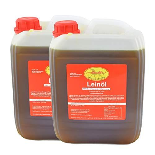 Horse-Direkt Premium Leinöl 20 L (2x10 Liter Kanister) Für Pferde, Hunde & Katzen- Leinsamenöl Kaltgepresst Zum Barfen Für Das Tier - Natürlicher Futterzusatz Zur Unterstützung