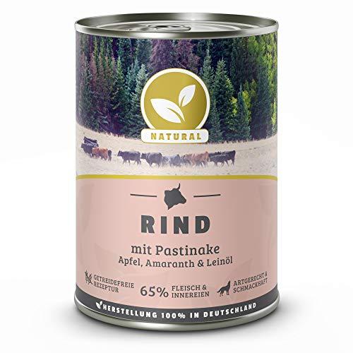 Hundeland Natural | Rind + Pastinake | 6 x 400 g | getreidefreies Hundefutter | Nassfutter für alle Hunderassen | viel frisches Fleisch | artgerecht & besonders gut verträglich