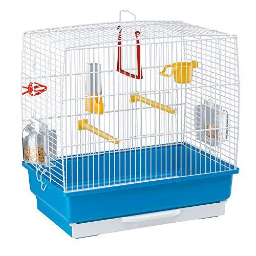 Ferplast Rechteckiger Käfig für kleine exotische Vögel und Kanarienvögel Rekord 2 Kleiner Vogelkäfig, komplett mit Zubehör und drehbarem Futternäpfen, 39 x 25 x 41 cm