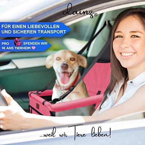 dainz ® Hunde Autositz - Autositz für kleine Hunde & Welpen bis 8kg - Hundesitz für Dein Auto [extra stabile Wände] Hochwertiger Hundeautositz für Dein Hund zum Wohlfühlen Weil wir Tiere lieben