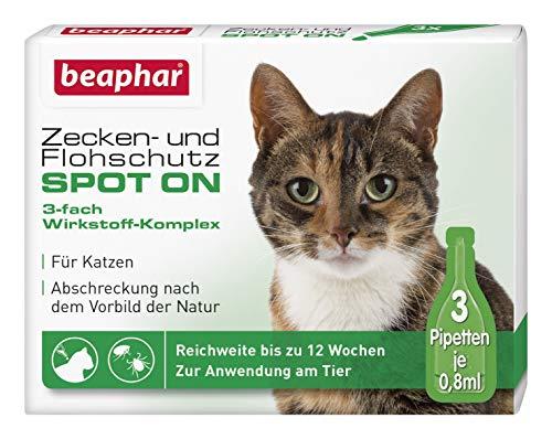 beaphar Zecken- und Flohschutz Spot On für Katzen, Zecken- und Flohschutz mit Margosa Extrakt, 3 x 0,8 ml