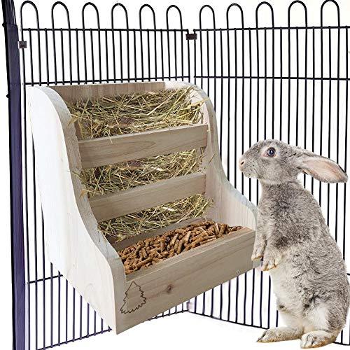 wisedwell Heu Futterspender Heuraufe Kaninchen Feeder aus Naturholz 2 in 1 Grasnahrung Smittel Schüssel für Kaninchen Meerschweinchen Chinchillas