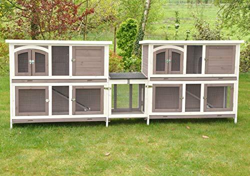 nanook Balu Hasenstall-System Set, Zwei doppelstöckige Kaninchenställe mit Verbindung für Kleintiere, wetterfester Holz-Kleintierstall, 280x 50x 104cm