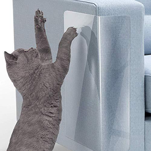 LMLMD Haustier-Couch-Schutz für Katzen, 6 Stück, transparent, selbstklebende Pads, Kratzschutz, Abdeckung zum Schutz von Polstern, Türen, Wänden, Autositzen (45,7 cm L x 30,5 cm)