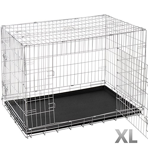 Leopet Transportkäfig - in Größenwahl S-XXL, faltbar, zusammenklappbar, aus Metall, mit 2 Türen - Hundekäfig, Transportbox, Hundetransportbox, Hundebox, Reisebox