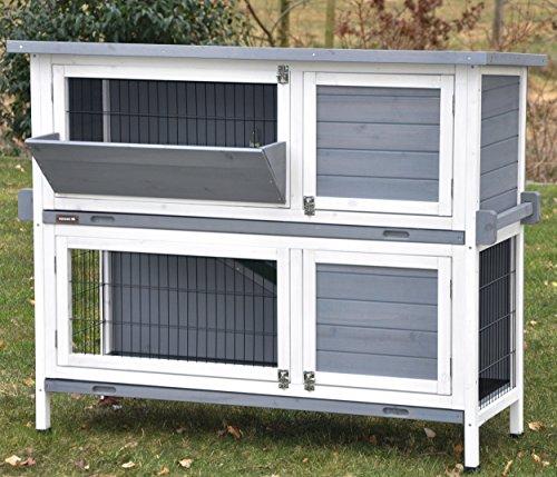 nanook Bunny Kaninchenstall mit Heuraufe und Tragegriffen, wetterfester Holz-Hasenstall, Kleintierstall für Hasen, Kaninchen oder Nager, 120 x50 x104cm