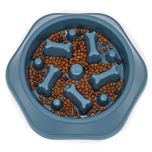 LEACOOLKEY Langsamer Futter Hundenapf,Puzzle Hundefutternapf Anti-Schlucken Interaktiver Hundenapf und Wasser-Hundenapf für kleine/mittelgroße Hunde, Blau, 360ml