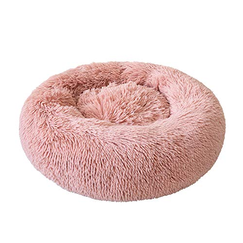 Festnight Haustierbett, Rundes Plüsch-Katzenbett-Hundehaus-Welpen-Kissen-tragbare warme weiche Bequeme Hundehütte, Doughnut-Form Klein Hund Bett 40/50/60/70CM