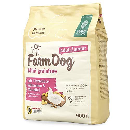 Green Petfood FarmDog Mini Grainfree Junior/Adult (1 x 900 g)   getreidefreies Hundefutter mit Tierschutz-Hühnchen   nachhaltiges Trockenfutter für wachsende und ausgewachsene Hunde   1er Pack