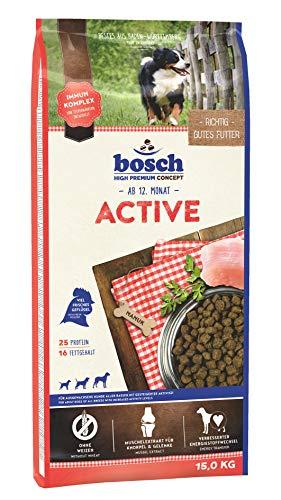 bosch HPC Active   Hundetrockenfutter für ausgewachsene Hunde aller Rassen mit gesteigerter Aktivität   1 x 15 kg
