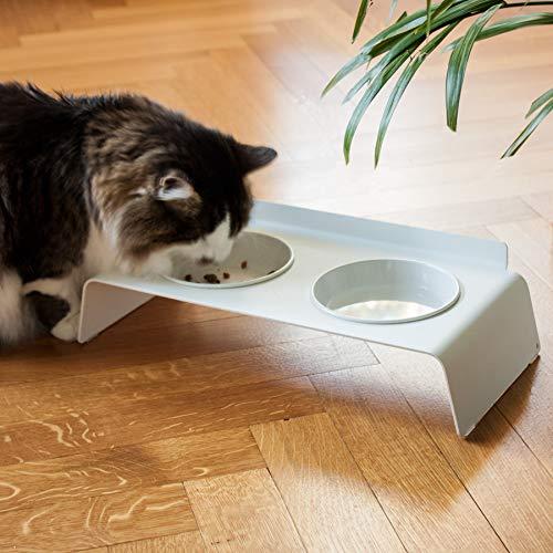 LucyBalu Futter- & Wassernapf für Katzen I Dine & Deli Katzenfutterstation und Wasserstelle I Weiß und Anthrazit