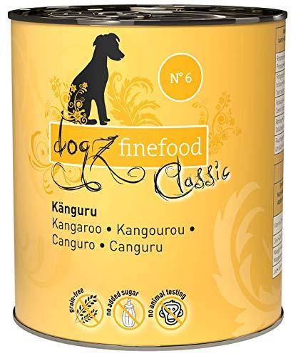 dogz finefood Hundefutter nass - N° 6 Känguru - Feinkost Nassfutter für Hunde & Welpen - getreidefrei & zuckerfrei - hoher Fleischanteil, 6 x 800 g Dose