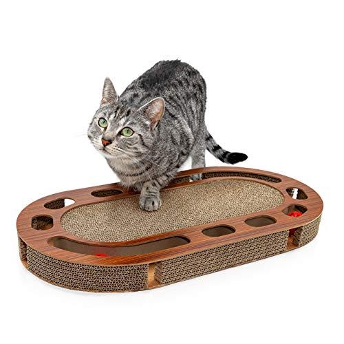 Pfotenolymp® Katzenspielplatz - interaktives Katzenspielzeug/Kratzbrett aus Wellpappe - Kratzpappe - Futterspielzeug mit Spielball & Katzenminze