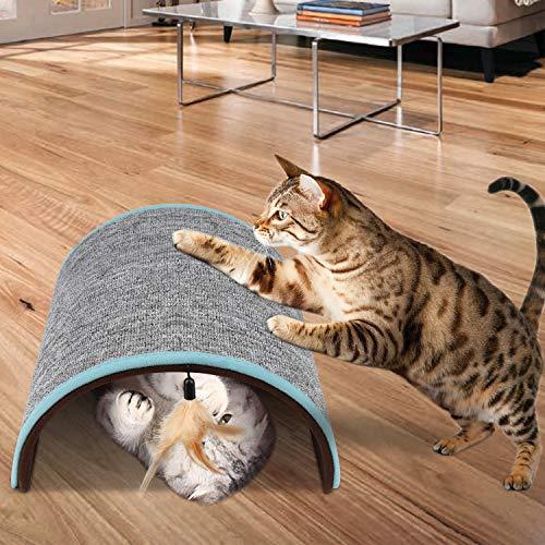Kratzbrett für Katzen, gewölbtes Design, natürliche Sisalmatte, Kratzmatte mit Katzenminze, Kratzbaum für Kätzchen, inklusive Spielzeug, Katzenminze, schützt Teppiche und Sofas