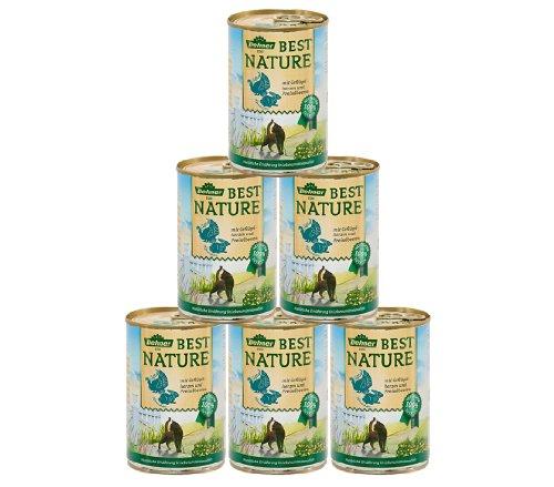 Dehner Best Nature Katzenfutter Adult, Geflügelherzen und Kaninchen mit Preiselbeeren, 6 x 400 g (2.4 kg)