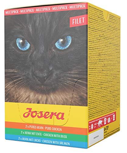 JOSERA Multipack Filet (6 x 70 g)   getreidefreies Katzenfutter   Pures Huhn, Huhn mit Ente und Huhn mit Lachs   Super Premium Nassfutter für ausgewachsene Katzen   6er Pack