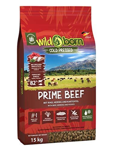 Wildborn Prime Beef kaltgepresstes Hundefutter getreidefrei mit extra viel Rindfleisch aus Deutschland (15 kg)