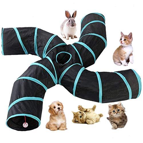 beststar Katzen-Tunnel , S-Form, 4-Wege zusammenklappbar, mit Aufbewahrungstasche, großes Spielzeug, Knistertunnel für Kätzchen, Welpen, Kaninchen, Kätzchen, Meerschweinchen Spieltunnel #4079