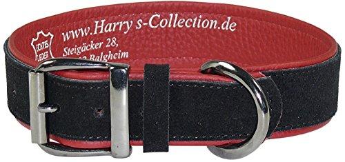 Harrys-Collection Hundehalsband aus feinstem Leder in vielen Farben von 28-48 cm, Farben:rot mit schwarz, Halsbandgöße:38