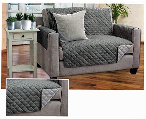 heimtexland Wende Sofa Schonbezug Grau 2-Sitzer Überwurf 190x223 cm Sofaschoner Typ646