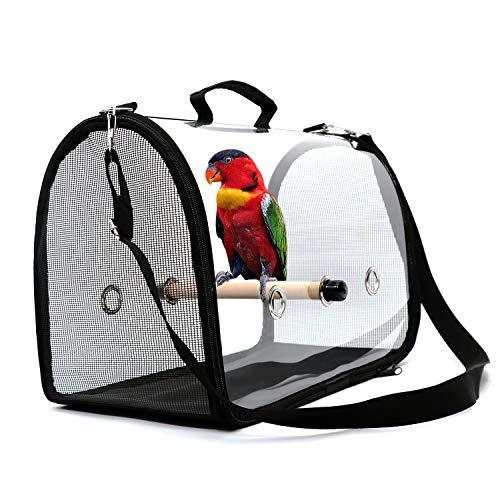 Leichte Vogeltrage, transparente atmungsaktive Papageienhandtasche aus PVC-Reisekäfig mit einem Holzstab