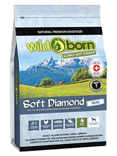Wildborn getreidefreies Hundefutter Soft Diamond Mini 4 kg Softfutter für kleine Hunde   mit 72% frischem Schweizer Alpenhühnchenfleisch