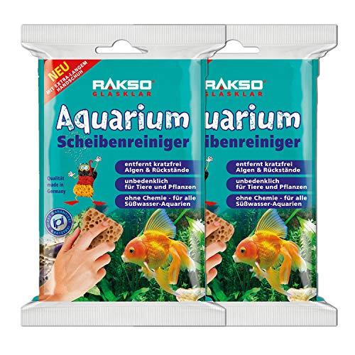 RAKSO Süßwasser Aquarium-Fenster-Glas-Reiniger Scheiben-Reinigungs-Schwamm Kratzfreie Algen-Entfernung 2x2St + Handschuh