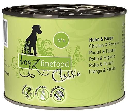 dogz finefood Hundefutter nass - N° 4 Huhn & Fasan - Feinkost Nassfutter für Hunde & Welpen - getreidefrei & zuckerfrei - hoher Fleischanteil, 6 x 200 g Dose