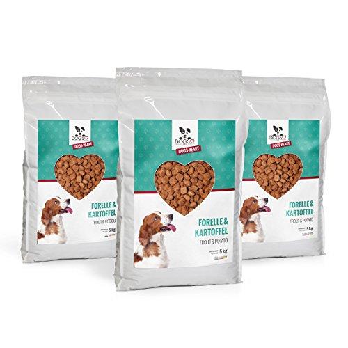 DOGS-HEART Forelle&Kartoffel - Getreidefreies Hundefutter mit viel Fisch (3x5 kg)