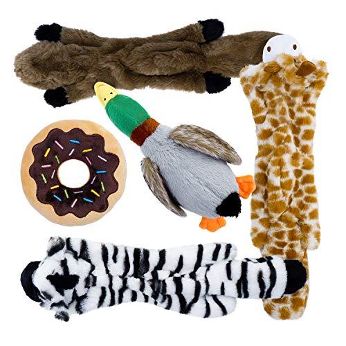 Toozey Hundespielzeuge Quitschend - Füllungsfreie Spielzeug für Hund und Plüschtierspielzeuge mit Füllung - Sicher&Ungiftig Kauspielzeug für Kleine und Mittel Hunde (5 Stücke)