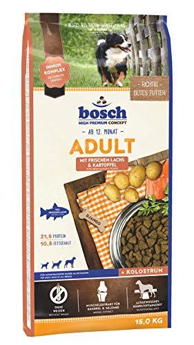 bosch HPC Adult mit frischem Lachs & Kartoffel   Hundetrockenfutter für ausgewachsene Hunde aller Rassen   1 x 15 kg