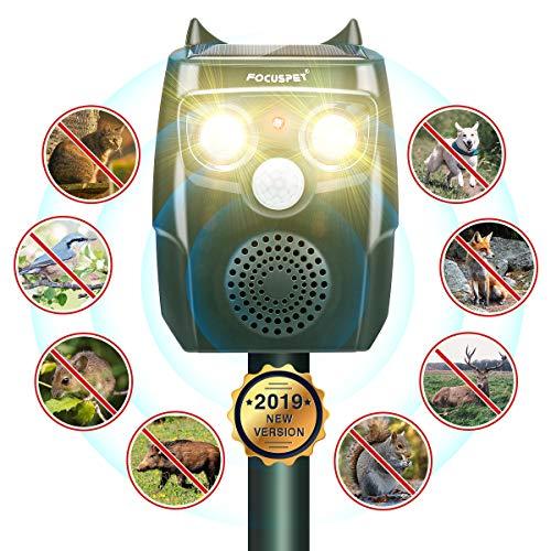 Focuspet Katzenschreck, Upgrade Katzenabwehr 3 Modi Automatischer Ultraschall Tiervertreiber mit Solar, Blitz, Akku für Hunde, Katze, Eichhörnchen, Ratte, Waschbären usw.