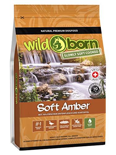 Wildborn Hundefutter getreidefrei Soft Amber 4 kg   Sensitives Soft Hundefutter mit 70% frischem Entenfleisch