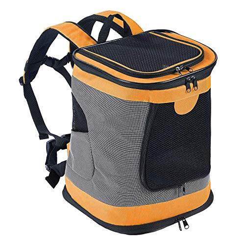 Petcomer SBC5148 Haustiertragetasche für Hunde und Katzen Faltbarer Rucksäcke gut für Wander-Kampagne Tägliche Verwendung, Einheitsgröße, orange