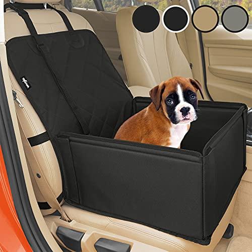 Extra Stabiler Hunde Autositz - Hochwertiger Auto Hundesitz für kleine bis mittlere Hunde - Verstärkte Wände und 3 Gurte - Wasserdichter Hundeautositz für Rück- und Vordersitz (Schwarz)