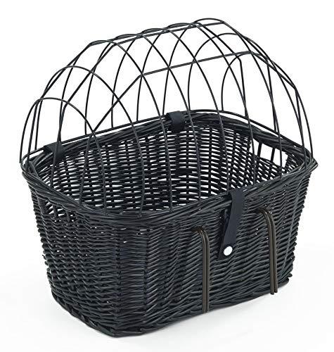 Tigana - Fahrradkorb aus Weide mit Gitter und Kissen für Lenker Schwarz (Lenker 45 x 33 cm - (S-S))