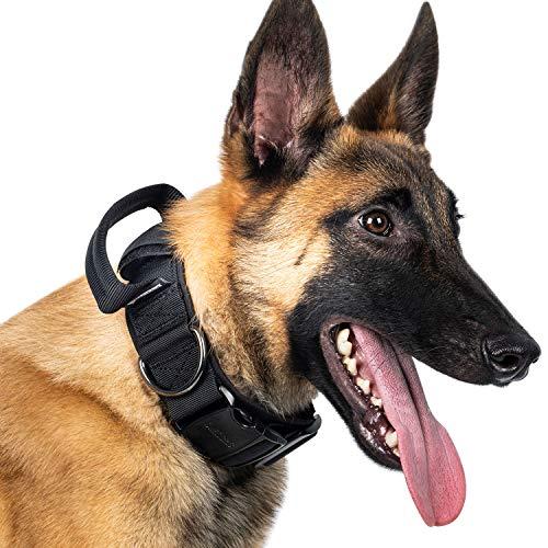 OneTigris K9-Halsband mit Metallschnalle für Hunde (Schwarz, L)